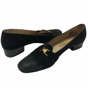 Salvatore Ferragamo Loafer Heels Black Shoes